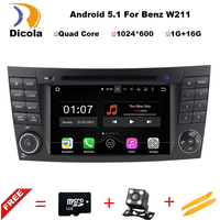 Two Din 7 Inch Android Car DVD Player Video For E Class W211 Mercedes Benz CLK