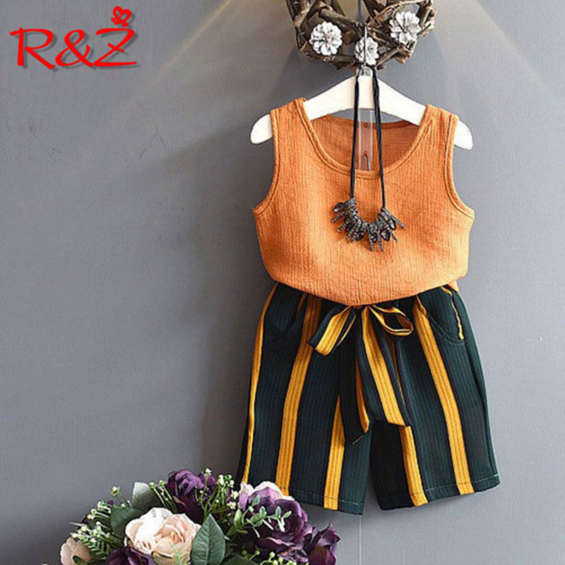 R amp Z children 39 s suit 2019 summer new girls set children 39 s solid color sleeveless T shirt vest striped wide leg pants two piece in Clothing Sets from Mother amp Kids