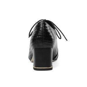 Image 4 - סופרסטאר כיכר עד תחרת עקבים אמיתי עור גדול גודל נשים משאבות אלגנטי משרד ליידי מעורב צבעים תמציתי סתיו נעלי L03