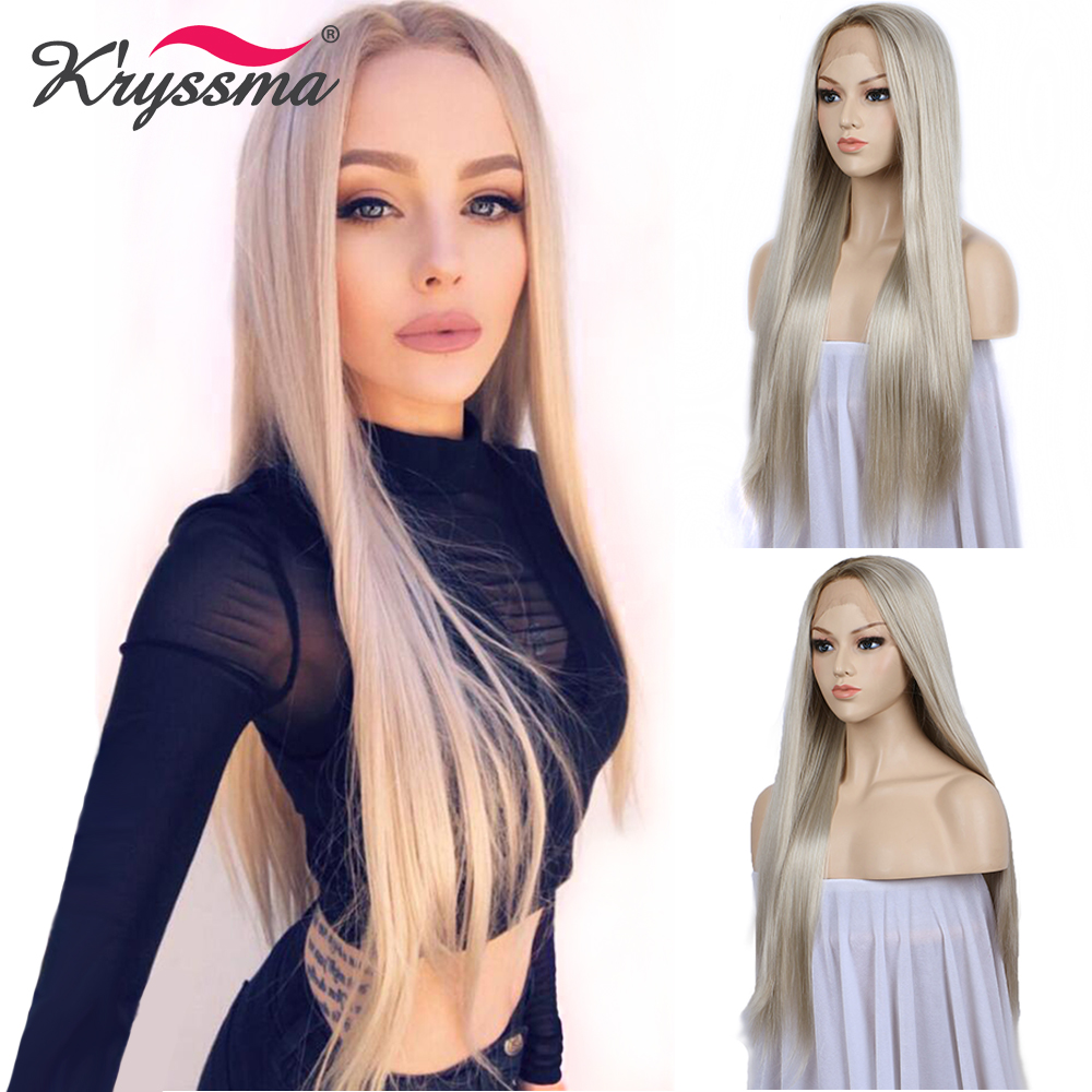 Blonde Wig Ombre Synthetic Lace Front Wigs for Women Brown Roots Natural Straight Long Light Blonde Platinum Wig Heat OK 24