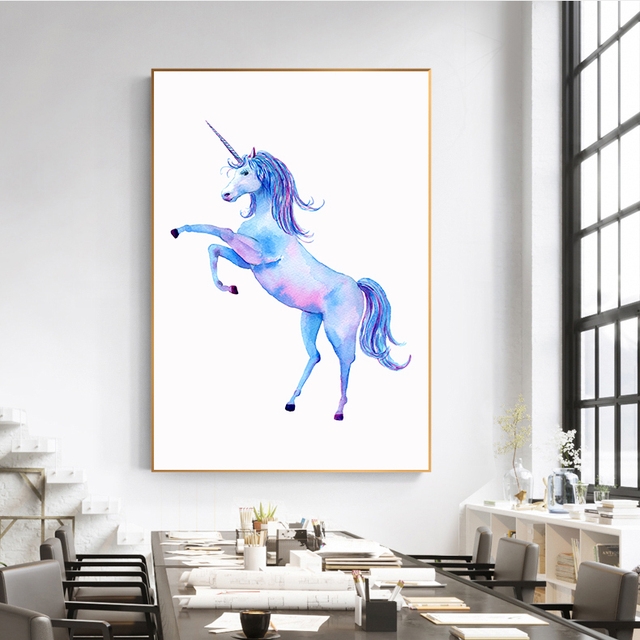 Us 3 77 28 Off Colorful Horse Canvas Painting Pegasus Unicorn Wall Art Pictures Home Decor Oil Painting Poster Children Gift Nordic In Painting