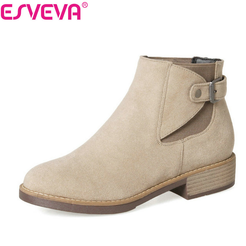 ESVEVA 2018 Scrub Buckle Women Boots Autumn Square High Heels Zipper Ankle Boots Round Toe Short Plush  Ladies Boots Size 34-43 esveva 2018 women boots high heels short plush buckle ankle boots square heels chunky pointed toe sexy fashion shoes size 34 39
