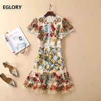 Women's Clothing Dresses 2019 Spring Summer Fashion Party Tunic Dress Ladies O Neck Allover Tulle Mesh Embroidery Dress Girls
