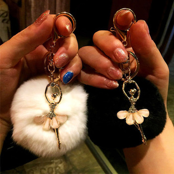 Rhinestone ballet dancer Fur Ball Key Chain For Women Fur Pompom Keychain Trinket Charm Bag Key Ring Holder Jewelry