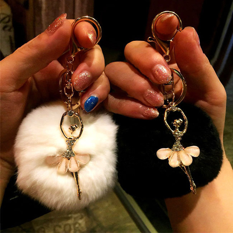 Rhinestone ballet dancer Fur Ball Key Chain For Women Fur Pompom Keychain Trinket Charm Bag Key