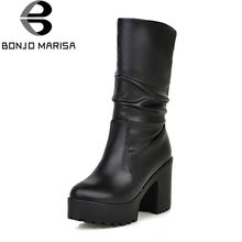 BONJOMARISA New Solid Square High Heels Round Toe Platform Shoes For Women Casual Winter Boots Female Large Size 34-46