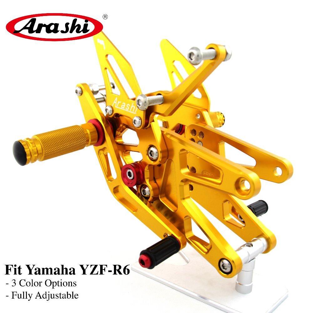 Arashi 1 Set CNC Adjustable Footrest For YAMAHA YZF R6 2003 2004 2005 Foot Pegs  Rider Rear Sets Rearset Footrest Foot Rest