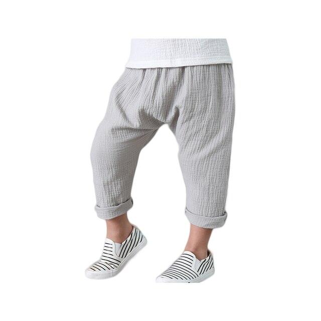 c7f851982 € 8.62  Pantalones harem para niños pantalones Capri para niños color  sólido plisado estilo tobillo longitud suelta ajuste transpirable algodón  ...