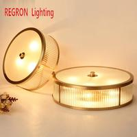 Regron American Style Ceiling Lights Pastorale Country Copper Led Ceiling Gold E27 Ceiling Lamps For Living Room Lamp Bedroom