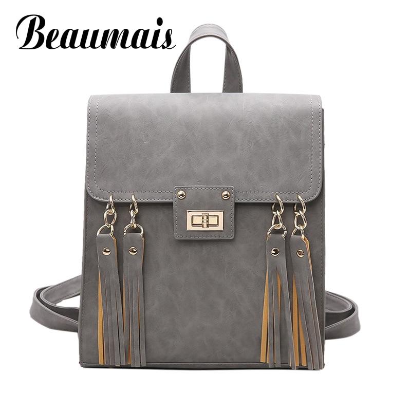 Beaumais Pu Leather Backpack Tassel School Bags For Teenager Girls Backpack Women Rucksack Shoulder Bag Travel