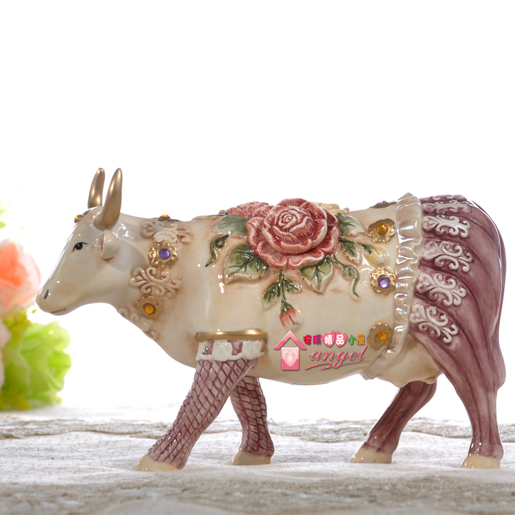 Rose Ceramic creative cow Bull home decor crafts room decoration handicraft Cattle porcelain wedding figurine