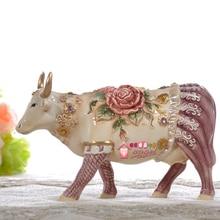 цена на Rose Ceramic creative cow Bull home decor crafts room decoration handicraft Cattle porcelain wedding decoration figurine