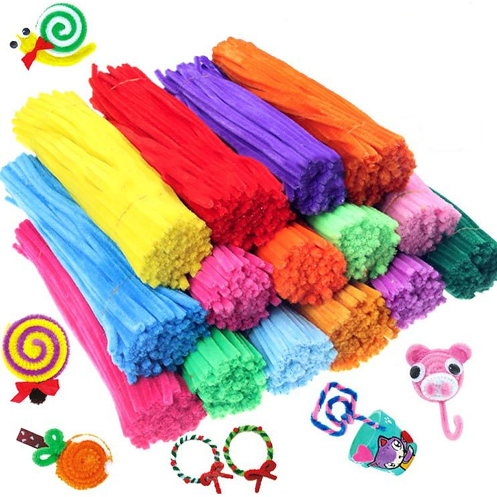 100PCS Kids Creative Colorful DIY Plush Shilly Chenille Sticks Chenille Stem Pipe Cleaner Stems Craft Educational Toys