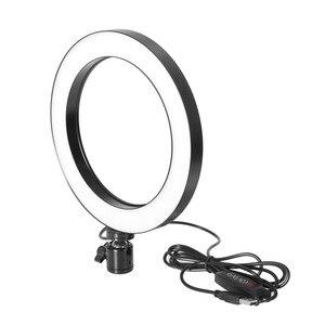 Image 2 - Anillo de luz LED para Selfie iluminación regulable con cabezal de cuna para maquillaje y vídeo en vivo, 16/26cm, tres velocidades