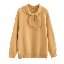 ผู้หญิง เสื้อกันหนาวฤดูใบไม้ร่วงผู้หญิงใหม่ขนาดเล็กสดโบว์เสื้อกันหนาวหญิงเกาหลีรุ่นปกหวานถัก Pullover TopsHC100