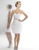 2016 Organza sheath ruffles Sweetheart open back drop waist knee length gems pearls bugle Beaded belt bridal gown wedding dress