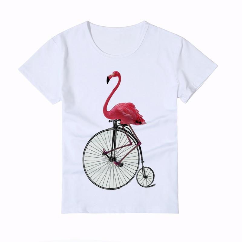 391e5d61e7 Vicces flamingás kerékpáros nyomtatás Gyerek pólók Nyári 3D hűvös ...