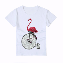 Funny Flamingo cyclist printing Kids t shirts Summer 3D cool animal tops Boy/Girl T shirt Super fashion Baby new tee shirts Y4-1