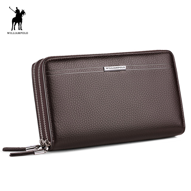 WilliamPOLO Leather Vintage Solid Clutch Bag Phone Cases Brand Mens Wallet Double Zipper Genuine Leather Bag