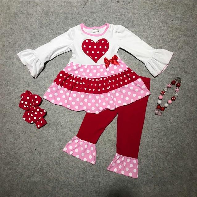 Novas roupas dos bebés meninas V-dia irritar calças outfits top branco com coração vermelho manga longa meninas boutique com accessoriess