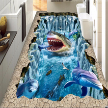 custom wallpaper for walls 3 d floor shark dolphin waterfall 3D painting PVC pvc self adhesive wallpaper wall papers home decor