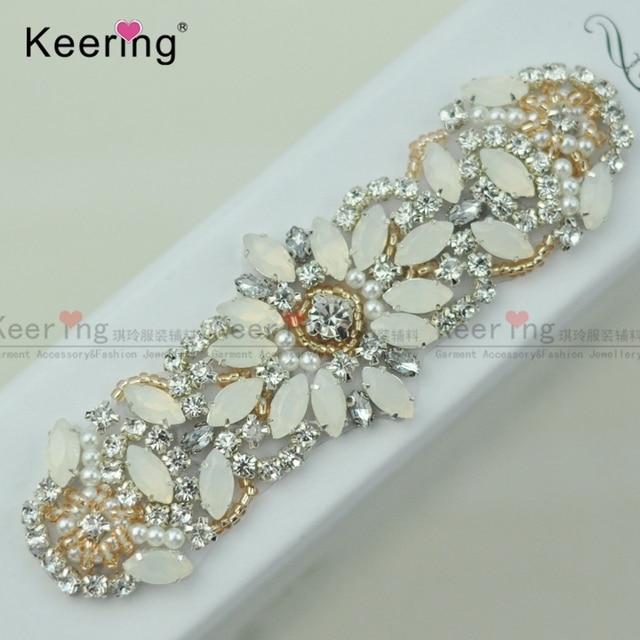 Keering Fashion Pretty jelly Sparkling Crystal Rhinestone Applique For Bridal  Sash and baby headband WRA-977 7f261cdd4d75