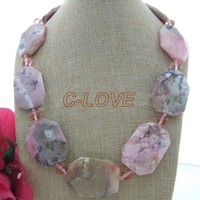 23 30x40mm Pink Opal Crystal Necklace