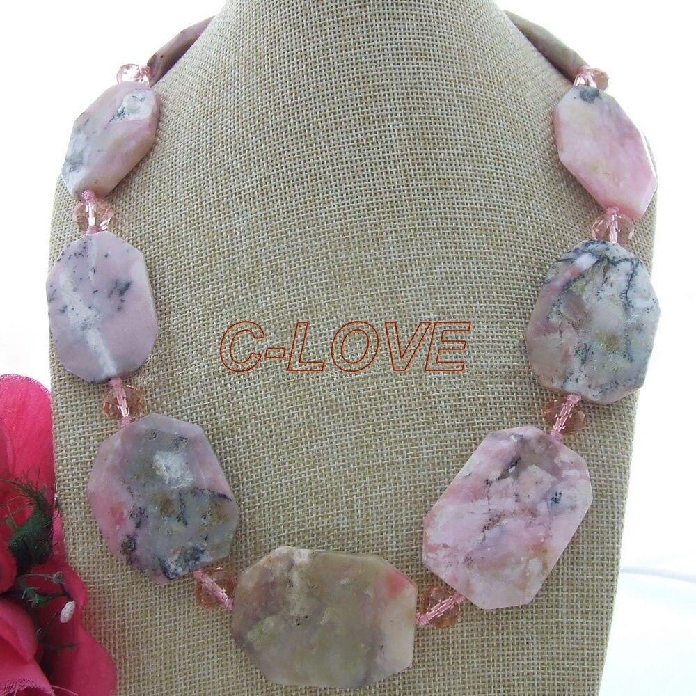 Collier en cristal opale rose 23 30x40mmCollier en cristal opale rose 23 30x40mm