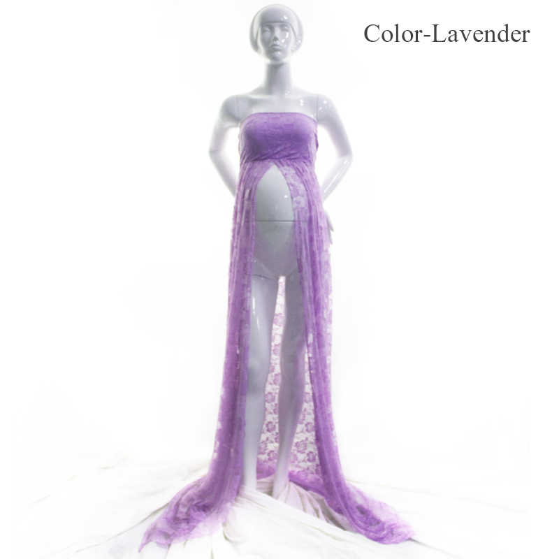 Robe de photographie en dentelle Rose Maxi | Motif de Rose, ouverture frontale, robe de maternité, fente haute, robe de grossesse