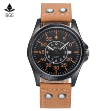 2016 Mens Watches Top Brand Luxury BGG Calendar High Quality Fashion Design Genuine Leather Strap Wrist Watch Men Quartz Clocks