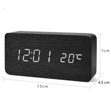 Mrosaa LED Digital Clocks Temperature Sounds Control Wooden Alarm clock Desktop digital Calendar Display Table Electronic Clock