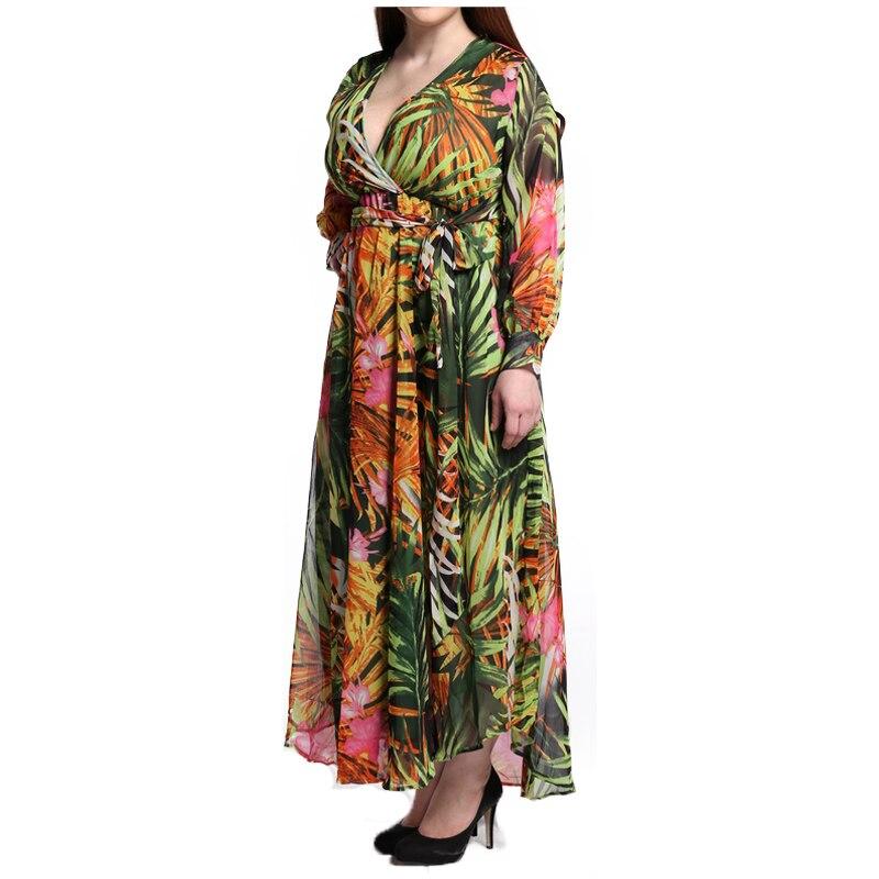FS 4XL 5XL 6XL 7XL Summer Maxi Ball Gown Tunic Dress Bohemian Chiffon Print  Sexy Long Sleeve Plus Size Beach Fitted Dresses-in Dresses from Women s  Clothing ... f9495f412de2
