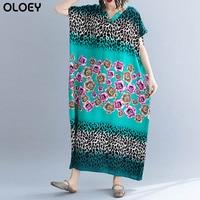 2019 Summer Female Clothing Plus Size Floral Print Cotton Dress Elegant Dress Big Size Lady Loose Women Beach Dress 4XL 5XL 6X