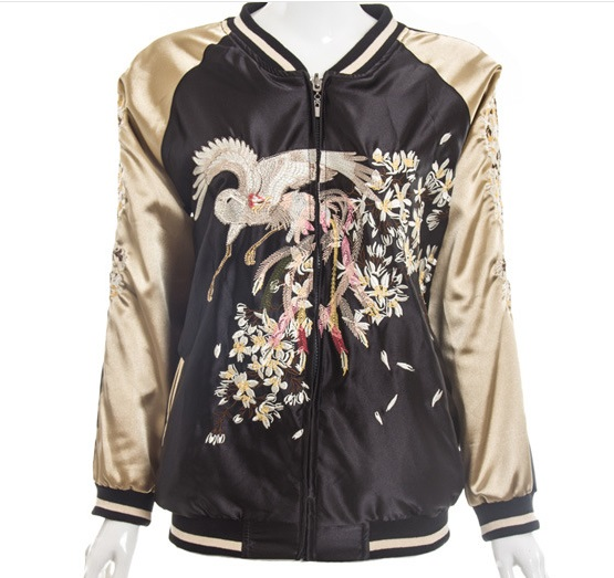 MZJ001 women Crane flower embroidery jacket/lovers baseball ...