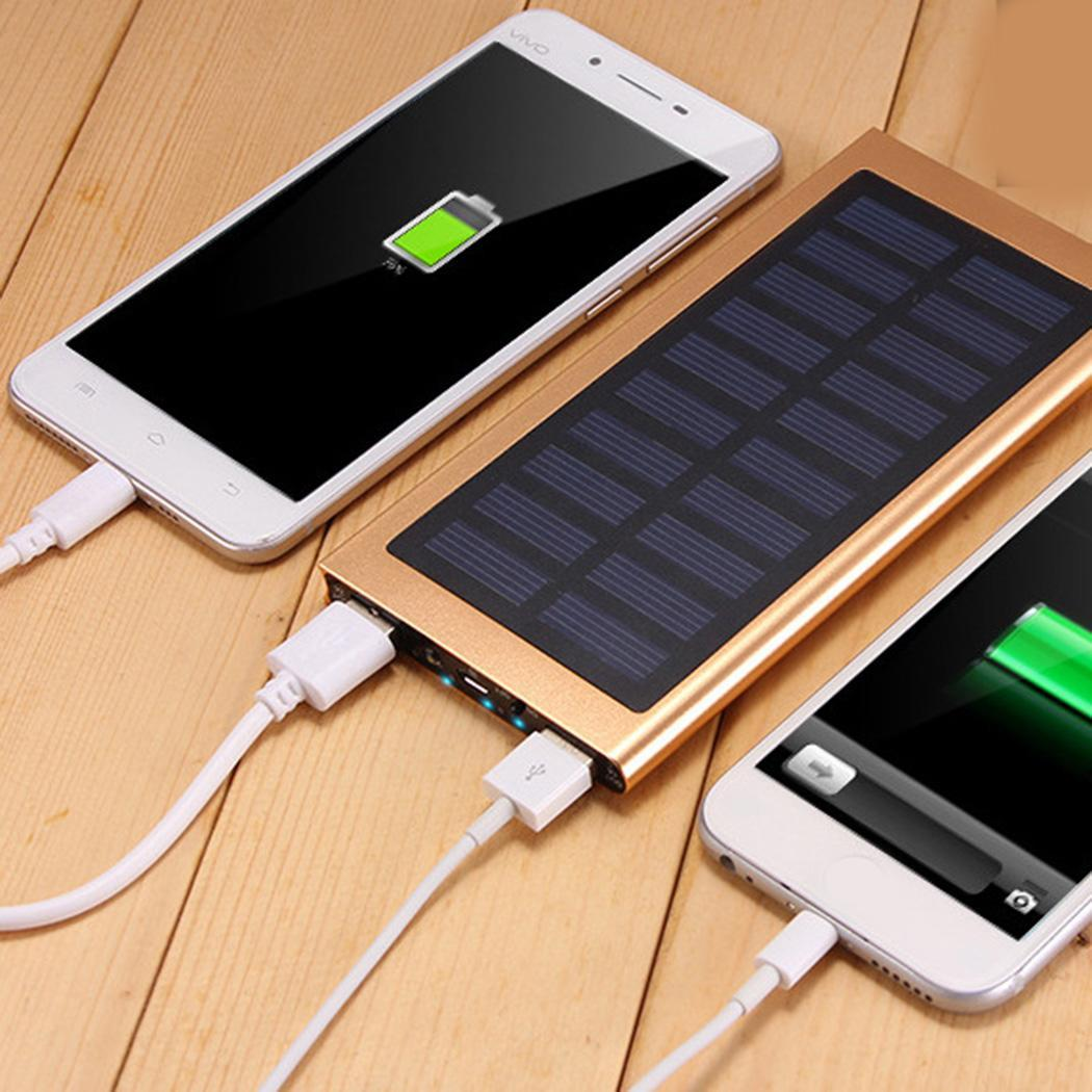 1A Dual 5V Solar for 5V Battery Charger Bank Portable Phone Cell Alloy 2A Ports x USB 20000mAh Power