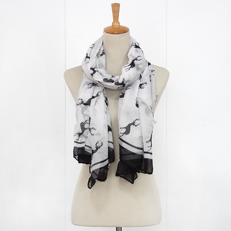 Newest Fashion Women's Cute Animal Christmas Deer Print Square   Scarf     Wrap   180cm*90cm Free Shipping