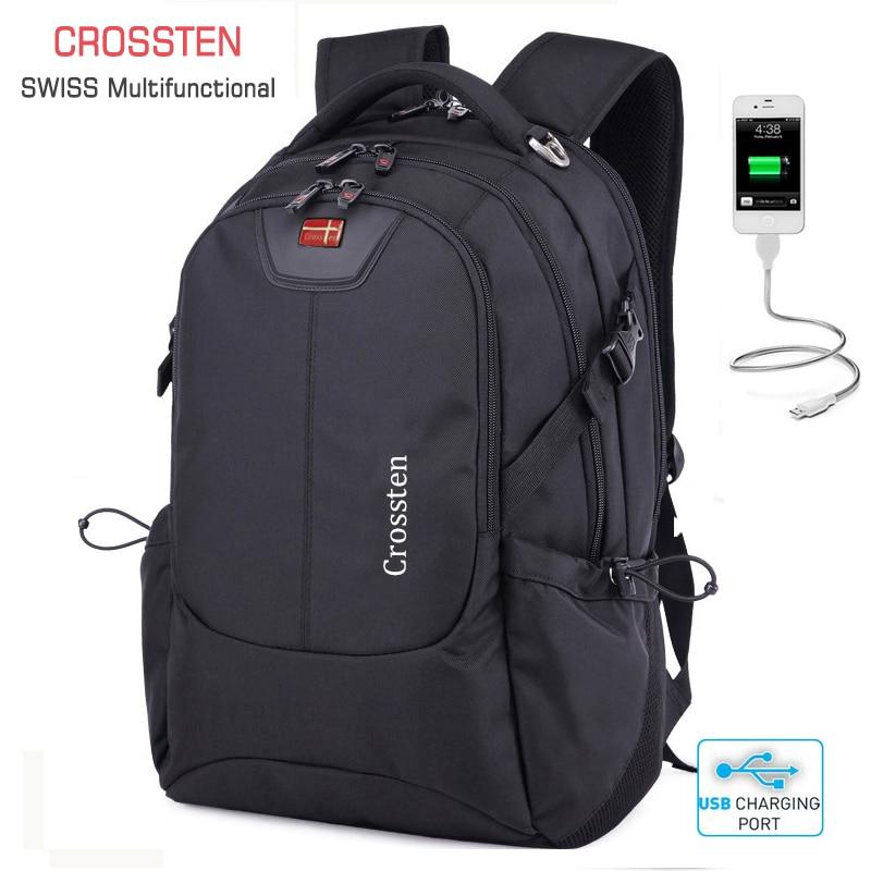 Crossten Suisse Multifonctionnel Externe USB Port de Charge pochette d'ordinateur Étanche 16 sac à dos pour ordinateur portable Cartable Voyage Sac À Dos