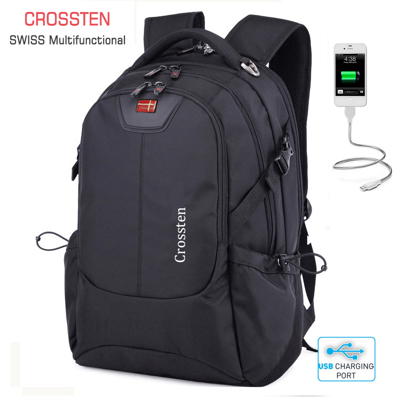 Crossten Swiss Multifunctional External USB Charge Port Laptop Bag Waterproof 16