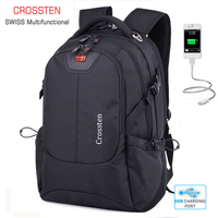 Crossten Swiss Multifunctional External USB Charge Port Laptop Bag Waterproof 16 Laptop Backpack Schoolbag Travel Bag Rucksack