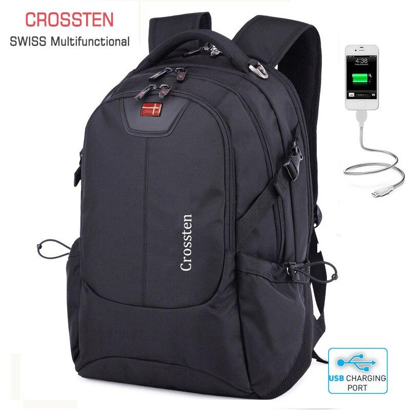 Crossten suisse multifonctionnel externe USB Port de Charge pochette d'ordinateur étanche 16 sac à dos pour ordinateur portable cartable sac de voyage sac à dos