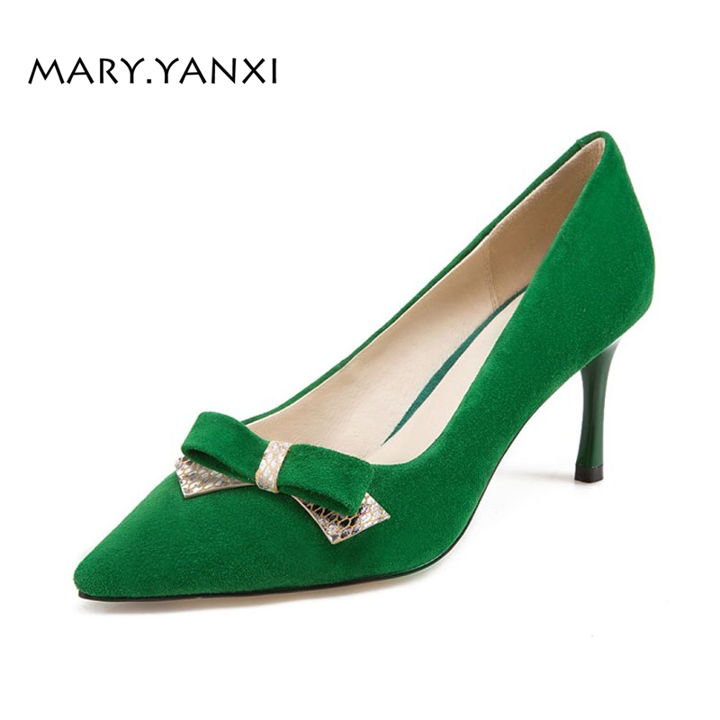 Women Pumps Lazy Shoes Genuine Leather Flock Nubuck Butterfly-knot High Thin Heels Pointed Toe Fashion Casual Shallow Solid women pumps flock high heels shoes woman fashion 2017 summer leather casual shoes ladies pointed toe buckle strap high quality
