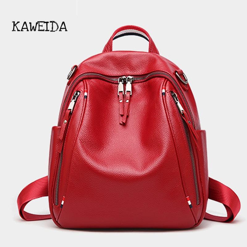 где купить Vintage Genuine Leather Backpack for Women Girls 2018 Casual Cowhide Travel Backpacks Ladies Lxury designer Shoulder School Bag дешево