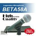 FreeShipping! 10 шт. Высокое Качество Версия Beta 58a Вокальный Динамический Проводной Микрофон Караоке Ручной Микрофон BETA58 Бета 58 Микрофон