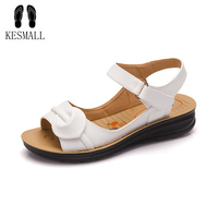 Big Size Summer Women Genuine Leather Sandals Vintage Ladies Flat Sandials Ankle Strap Fashion Casual Platforms