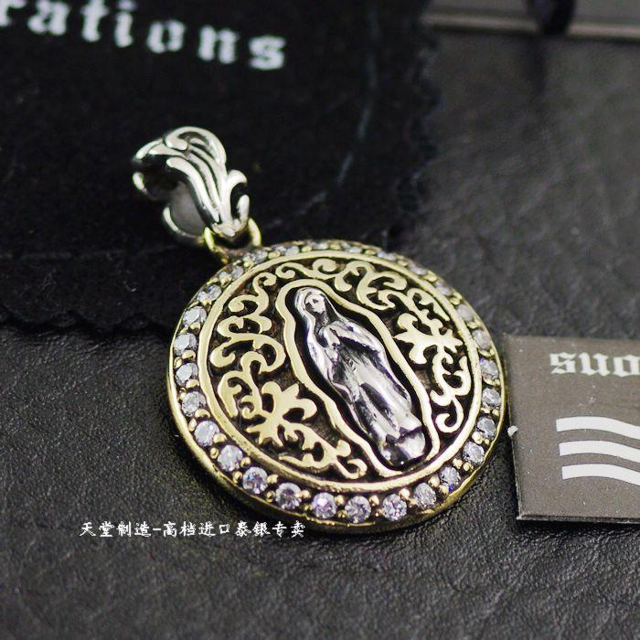 Thai jewelry 925 sterling silver genuine GV diamond diamond silver mixed with the Virgin vintage pendant tag