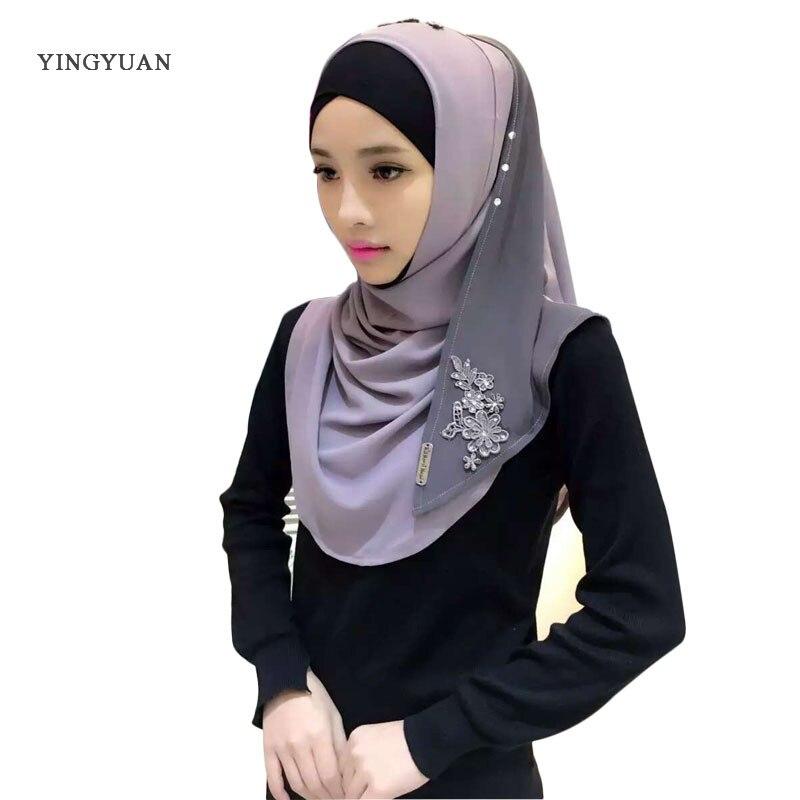 Muslim Women Hijab chiffon Embroidery   Scarf   Hooded Instant   Wraps   Bandanas Cap Shawl Abaya Headgear Arab Islamic(no underwear)