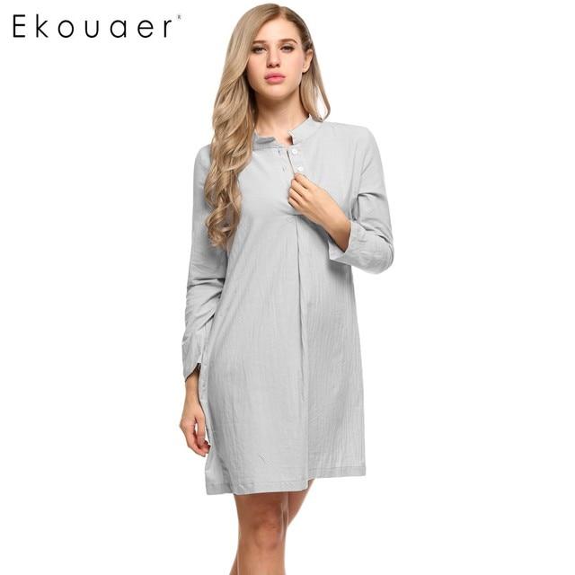 81c66171c6 Ekouaer 100% Cotton Sleepwear Nightdress Spring Autumn Women Long Sleeve  Button Down Sleepshirt Nightgown Sleep Lounge Dress