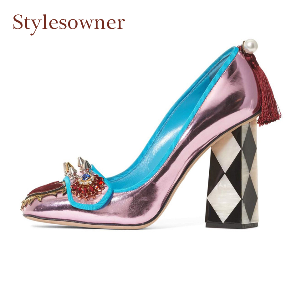 Stylesowner black mix white chunky high heel lady party shoe rivet stud fringe decor women shoe red heart patchwork street shoes