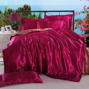 Image 3 - LOVINSUNSHINE Luxury Bed Sheet US King Size Silk Duvet Cover Set Satin Silk Bedding Sets AB06#