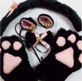 Free shipping New Anime Cosplay Costume Cat Ears Plush Paw Claw Gloves Tail Bow-tie 1 Set Women 4 colors